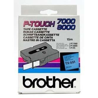 Originální páska Brother TX-551, 24mm, černý tisk na modrém podkladu