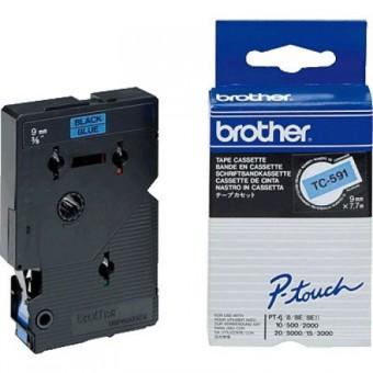 Originální páska Brother TC-591, 9mm, černý tisk na modrém podkladu