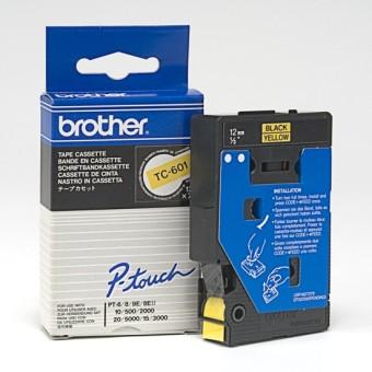 Originální páska Brother TC-601, 12mm, černý tisk na žlutém podkladu