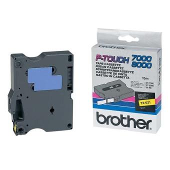 Originální páska Brother TX-621, 9mm, černý tisk na žlutém podkladu