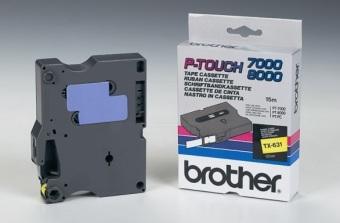 Originální páska Brother TX-631, 12mm, černý tisk na žlutém podkladu