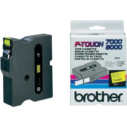 Originální páska Brother TX-641, 18mm, černý tisk na žlutém podkladu