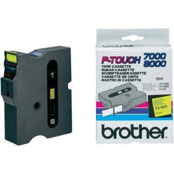 Originální páska Brother TX-651, 24mm, černý tisk na žlutém podkladu