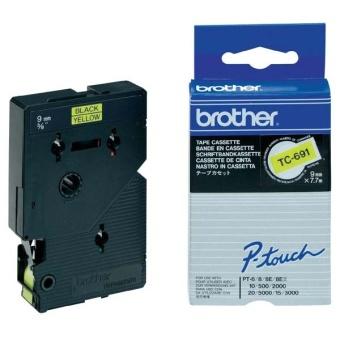 Originální páska Brother TC-691, 9mm, černý tisk na žlutém podkladu