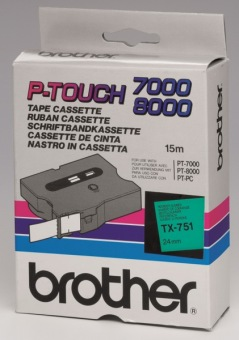 Originální páska Brother TX-751, 24mm, černý tisk na zeleném podkladu