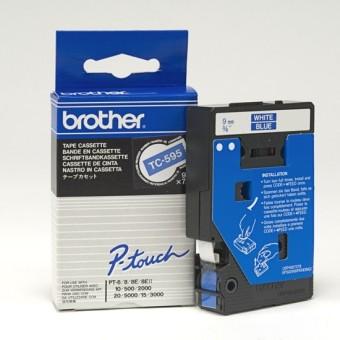 Originální páska Brother TC-595, 9mm, bílý tisk na modrém podkladu