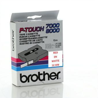 Originální páska Brother TX-232, 12mm, červený tisk na bílém podkladu