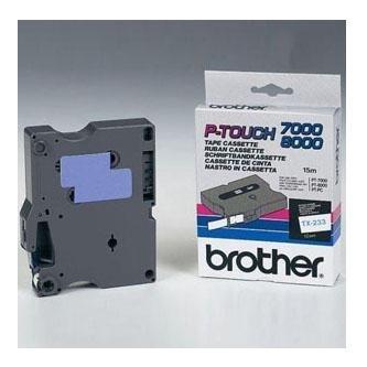 Originální páska Brother TX-233, 12mm, modrý tisk na bílém podkladu