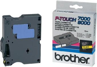 Originální páska Brother TX-611, 6mm, černý tisk na žlutém podkladu
