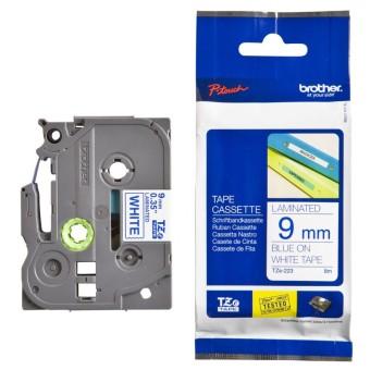 Originální páska Brother TZE-223, 9mm, modrý tisk na bílém podkladu