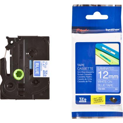 Originální páska Brother TZE-535, 12mm, bílý tisk na modrém podkladu