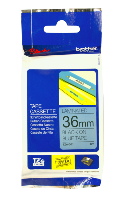 Originální páska Brother TZE-561, 36mm, černý tisk na modrém podkladu