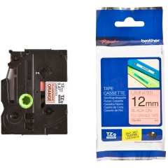 Originální páska Brother TZE-B31, 12mm, černý tisk na signálně oranžovém podkladu