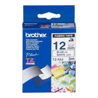 Originální páska Brother TZE-FA3, 12mm, modrý tisk na bílém podkladu, zažehlovací