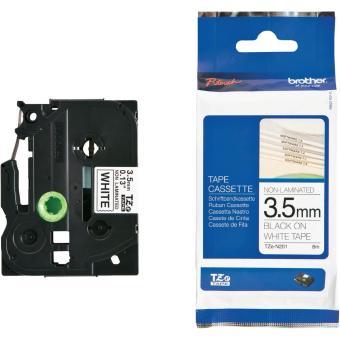 Originální páska Brother TZE-N201, 3,5mm, černý tisk na bílém podkladu