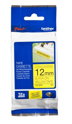 Originální páska Brother TZE-S631, 12mm, extrémně přilnavá, černý tisk na žlutém podkladu