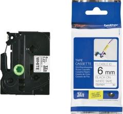 Originální páska Brother TZE-FX211, 6mm, černý tisk na bílém podkladu, flexibilní