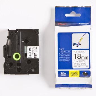 Originální páska Brother TZE-FX241, 18mm, černý tisk na bílém podkladu, flexibilní