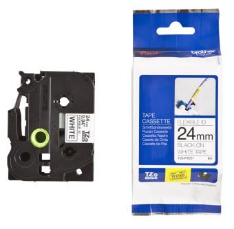 Originální páska Brother TZE-FX251, 24mm, černý tisk na bílém podkladu, flexibilní