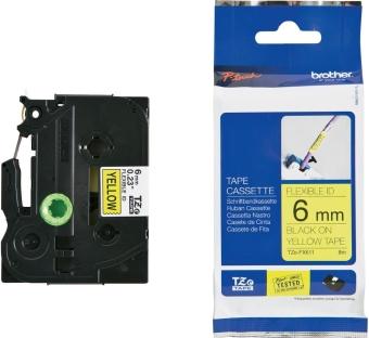 Originální páska Brother TZE-FX611, 6mm, černý tisk na žlutém podkladu, flexibilní