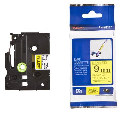Originální páska Brother TZE-FX621, 9mm, černý tisk na žlutém podkladu, flexibilní