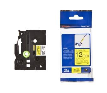 Originální páska Brother TZE-FX631, 12mm, černý tisk na žlutém podkladu, flexibilní