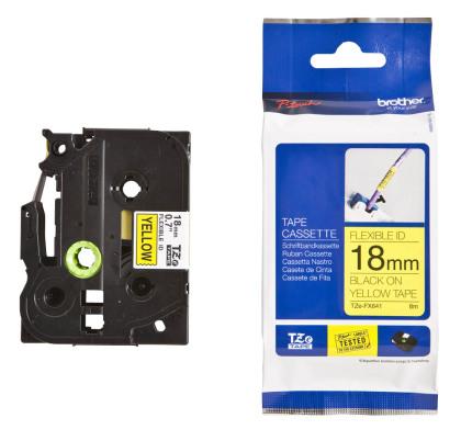 Originální páska Brother TZE-FX641, 18mm, černý tisk na žlutém podkladu, flexibilní