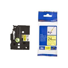 Originální páska Brother TZE-FX651, 24mm, černý tisk na žlutém podkladu, flexibilní