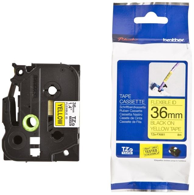 Originální páska Brother TZE-FX661, 36mm, černý tisk na žlutém podkladu, flexibilní