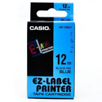 Originální páska Casio XR-12BU1, 12mm, černý tisk na modrém podkladu