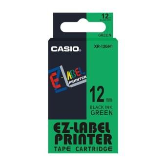 Originální páska Casio XR-12GN1, 12mm, černý tisk na zeleném podkladu