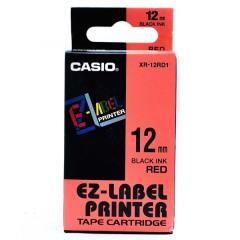 Originální páska Casio XR-12RD1, 12mm, černý tisk na červeném podkladu