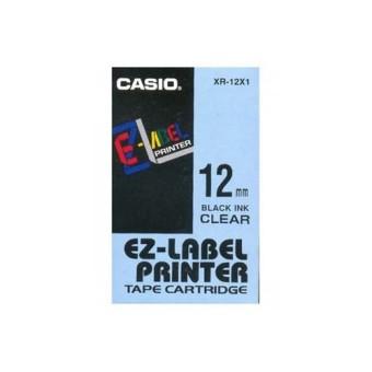 Originální páska Casio XR-12X1, 12mm, černý tisk na průsvitném podkladu