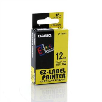 Originální páska Casio XR-12YW1, 12mm, černý tisk na žlutém podkladu