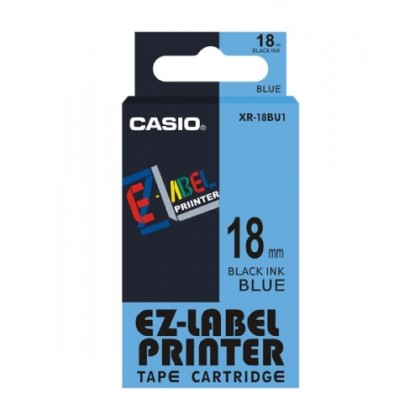 Originální páska Casio XR-18BU1, 18mm, černý tisk na modrém podkladu