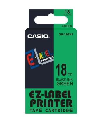 Originální páska Casio XR-18GN1, 18mm, černý tisk na zeleném podkladu