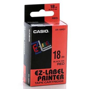 Originální páska Casio XR-18RD1, 18mm, černý tisk na červeném podkladu