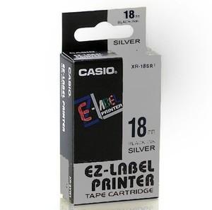Originální páska Casio XR-18SR1, 18mm, černý tisk na stříbrném podkladu