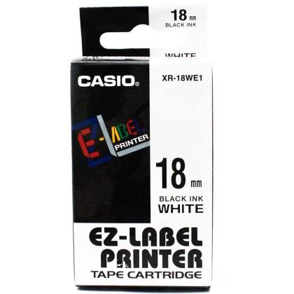 Originální páska Casio XR-18WE1, 18mm, černý tisk na bílém podkladu