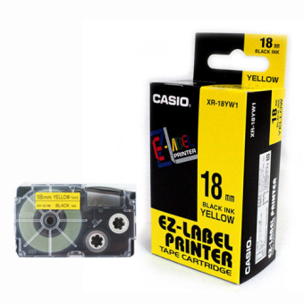 Originální páska Casio XR-18YW1, 18mm, černý tisk na žlutém podkladu