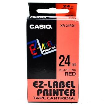 Originální páska Casio XR-24RD1, 24mm, černý tisk na červeném podkladu