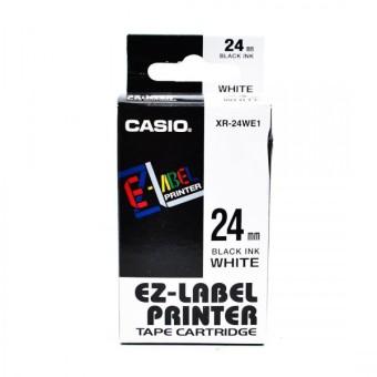 Originální páska Casio XR-24WE1, 24mm, černý tisk na bílém podkladu