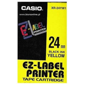 Originální páska Casio XR-24YW1, 24mm, černý tisk na žlutém podkladu