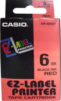 Originální páska Casio XR-6RD1, 6mm, černý tisk na červeném podkladu