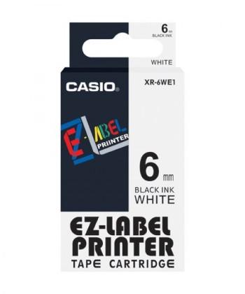 Originální páska Casio XR-6WE1, 6mm, černý tisk na bílém podkladu