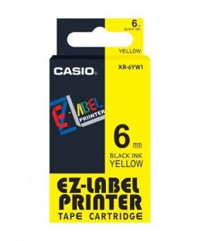 Originální páska Casio XR-6YW1, 6mm, černý tisk na žlutém podkladu