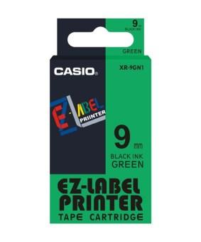 Originální páska Casio XR-9GN1, 9mm, černý tisk na zeleném podkladu