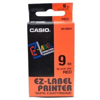 Originální páska Casio XR-9RD1, 9mm, černý tisk na červeném podkladu