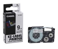 Originální páska Casio XR-9WE1, 9mm, černý tisk na bílém podkladu