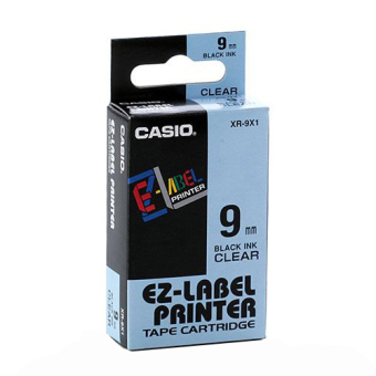 Originální páska Casio XR-9X1, 9mm, černý tisk na průsvitném podkladu